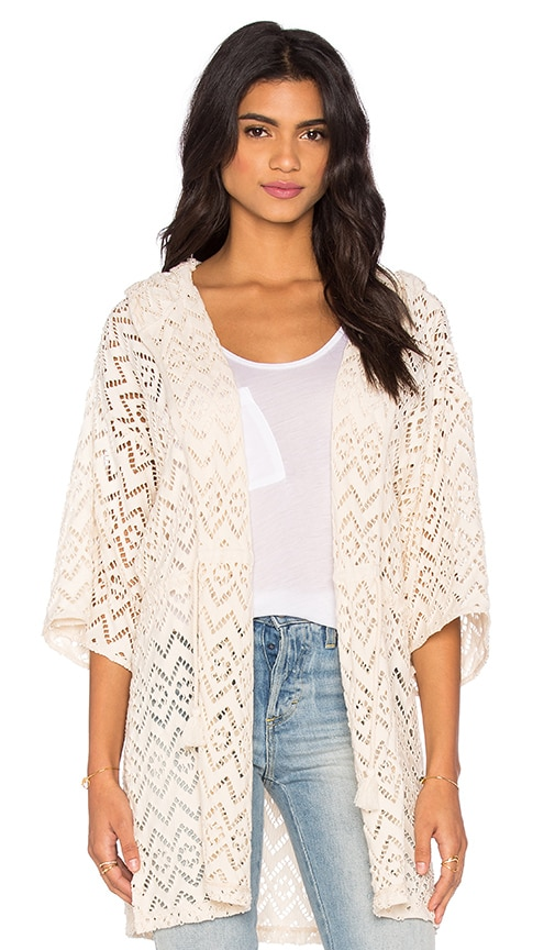 Maison Scotch Mesh Beach Hoodie in Off White