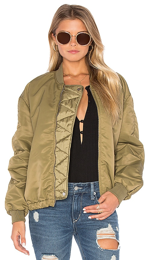 Maison Scotch Lightweight Bomber Jacket in Army