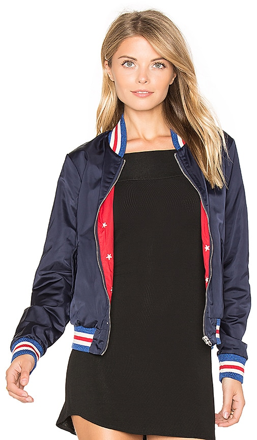 Maison Scotch Special Ribs Bomber Jacket in Blue
