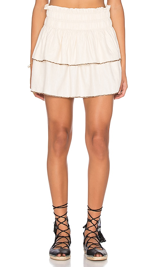 Maison Scotch Beaded Smocked Skirt in Ivory