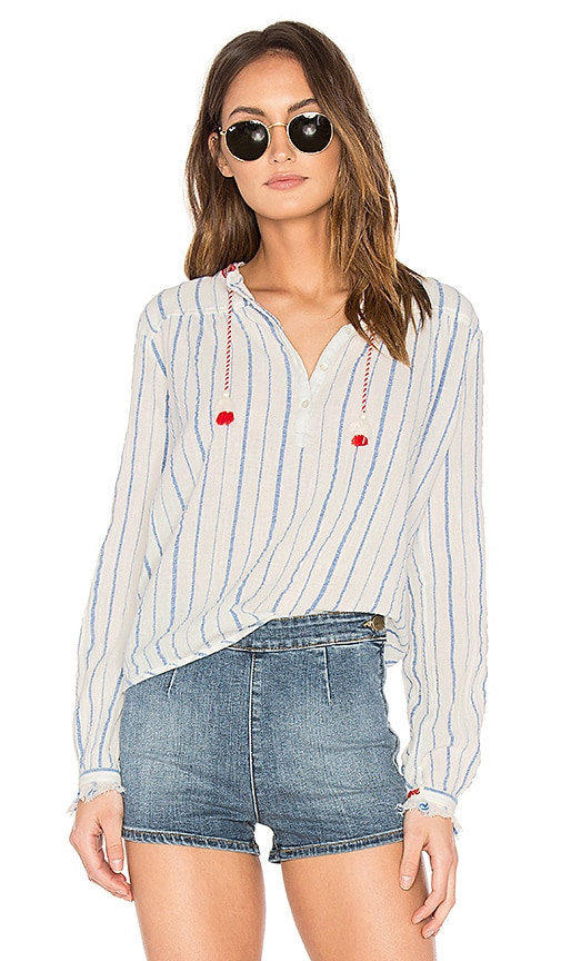 Maison Scotch Embroidered Woven Top in White