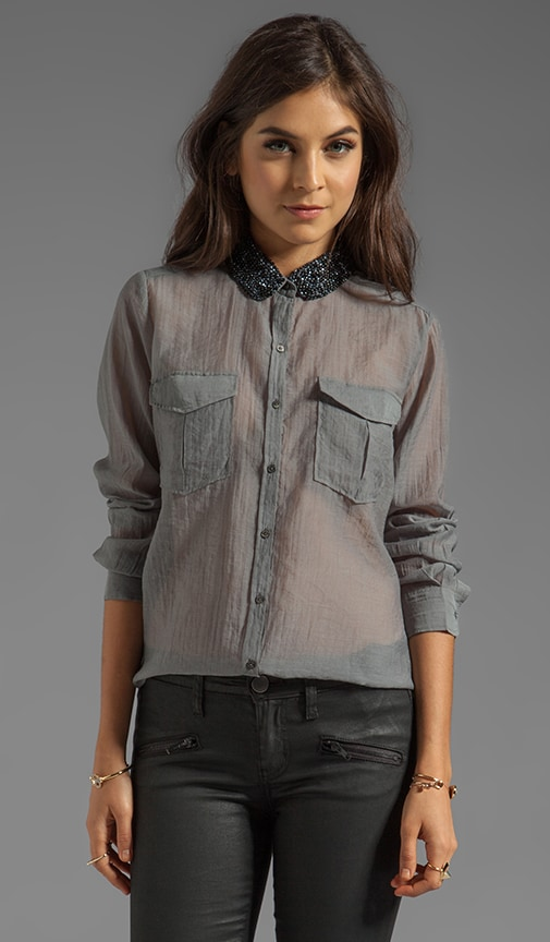 Button Up Shirt with Embellished Collar