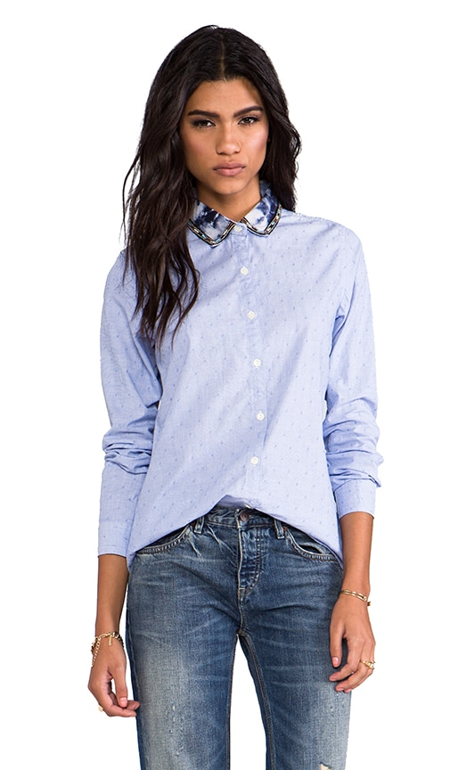 Button Down Shirt with Embellished Collar