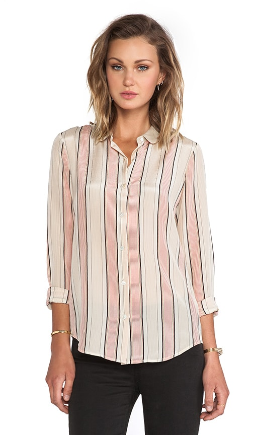 Stripe Button Up Silk Top