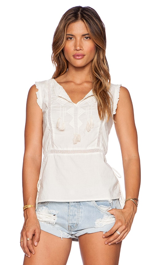 Maison Scotch Embroidered Beach Top in Ivory