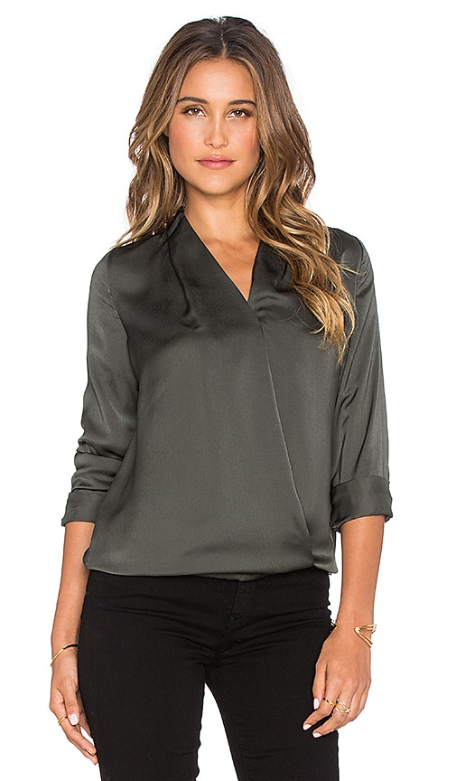 Maison Scotch Crossover Front Blouse in Hunter Green