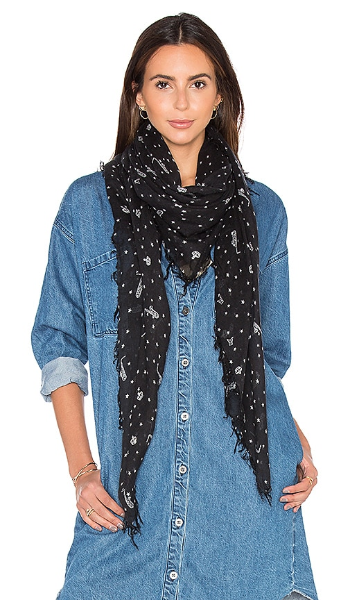 Maison Scotch Lightweight Star Scarf in Black