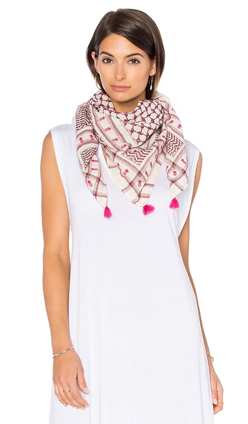 Maison Scotch Embroidered Jacquard Scarf in Red