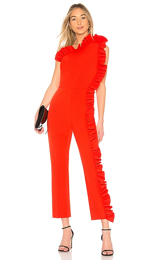 1a20f98c233 MSGM One Shoulder Ruffle Jumpsuit in Red