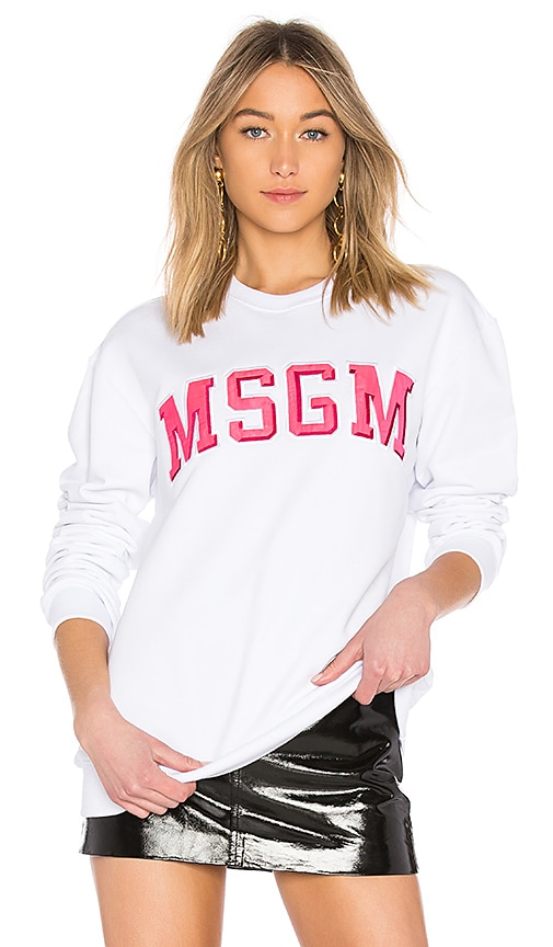 MSGM Logo Sweatshirt in White