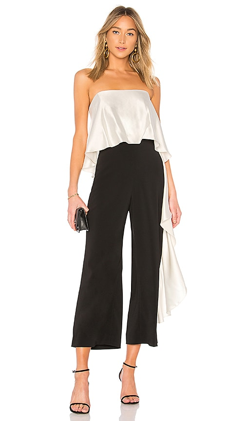 Mestiza New York Jacqueline Cropped Ruffle Jumpsuit in Black & White