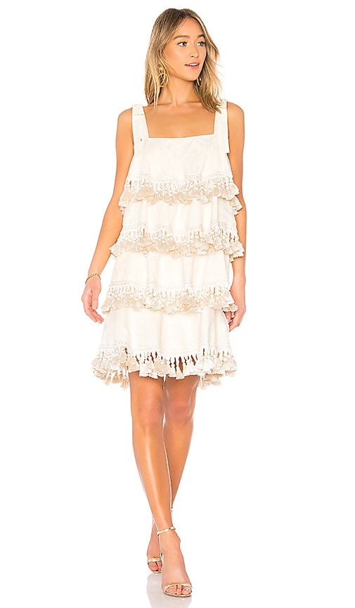 Mestiza New York Palma 4 Tiered Tassel Dress in Ivory
