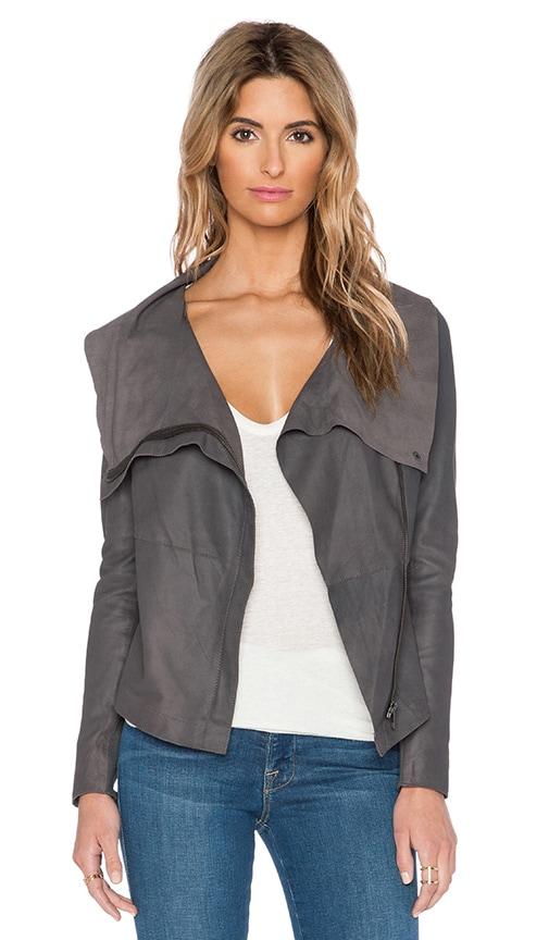 Muubaa Drape Front Jacket in Bentonite Grey