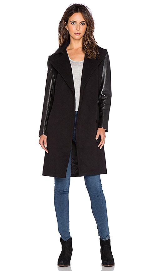 Muubaa Campbell Waterfall Mac Coat in Grey & Charcoal