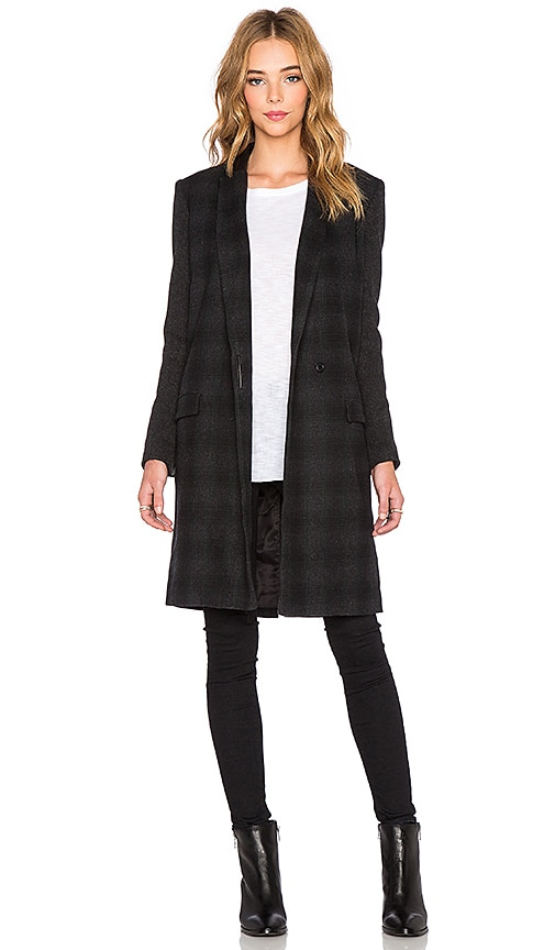 Muubaa Murphy Coat in Charcoal & Black