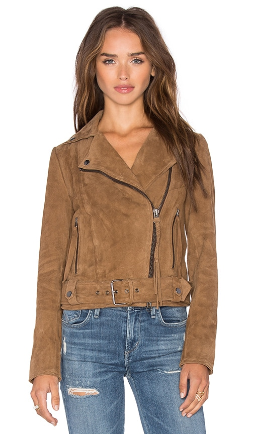 Muubaa Warren Belted Biker Jacket in Tan