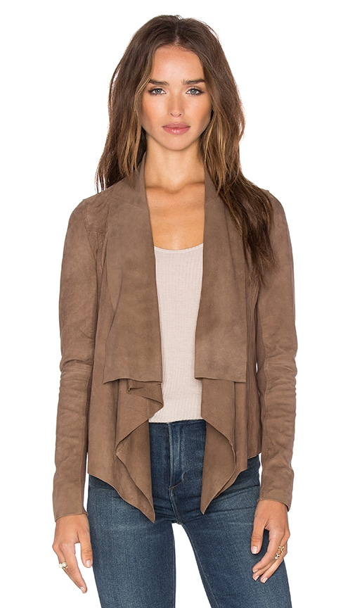 Muubaa Chester Drape Front Jacket in Taupe