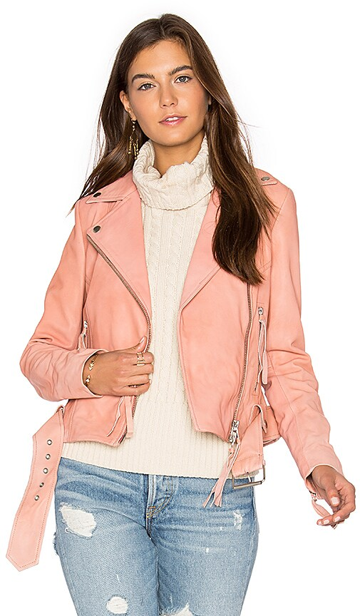 Muubaa Holmedale Biker Jacket in Rose