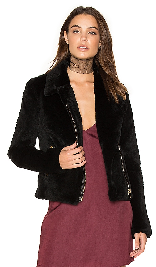 Muubaa Spitfire Rabbit Fur Biker Jacket in Black