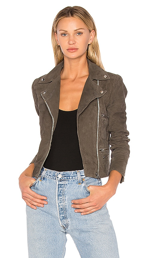 Muubaa Flint Suede Moto Jacket in Gray