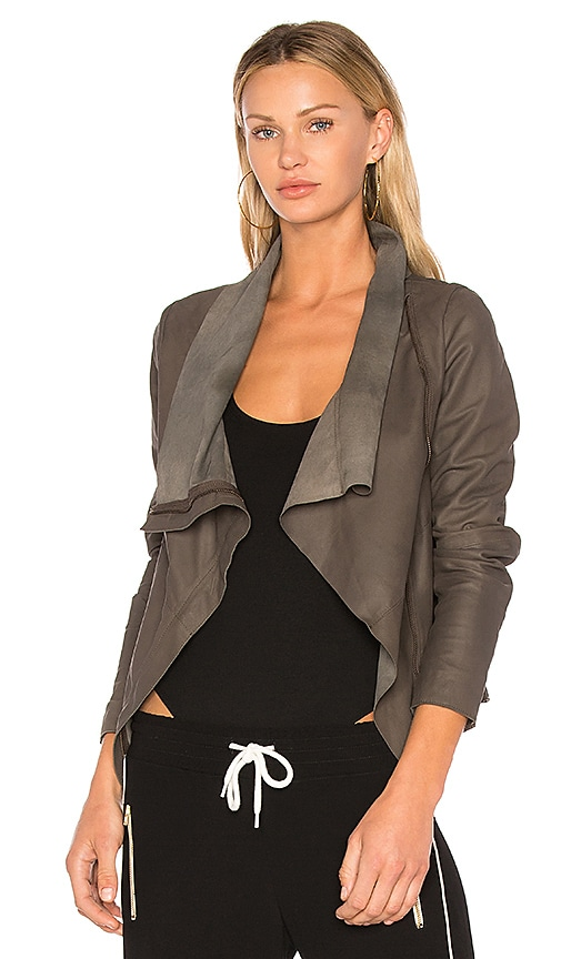 Muubaa Zipper Drape Front Jacket in Gray