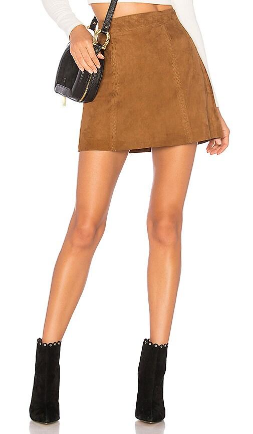 Muubaa Flore Suede Skirt in Tan