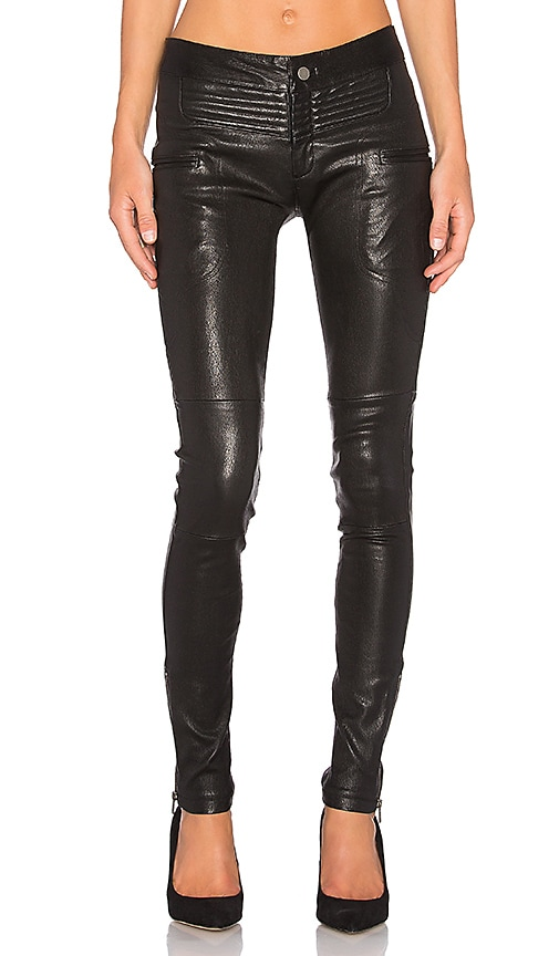Marissa Webb New Binta Leather Moto Pant in Black
