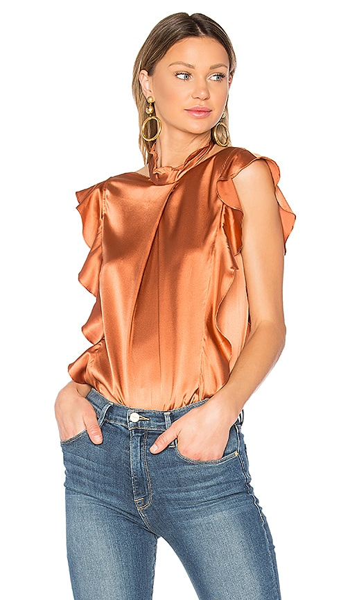 Marissa Webb Sharon Blouse in Metallic Bronze