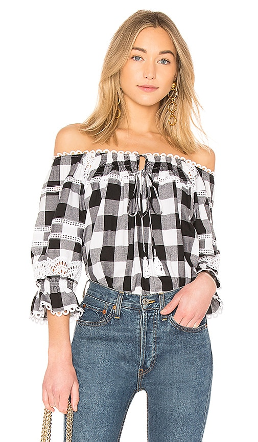 Marissa Webb Amalia Buffalo Plaid Blouse in Black & White