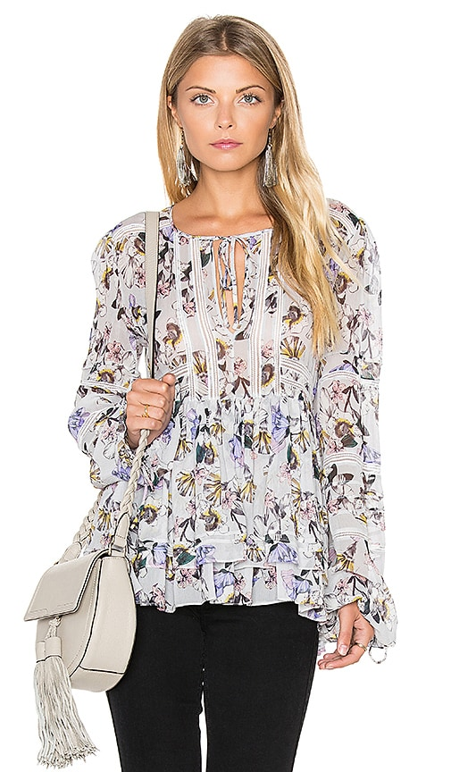 Marissa Webb Bella Print Blouse in Gray