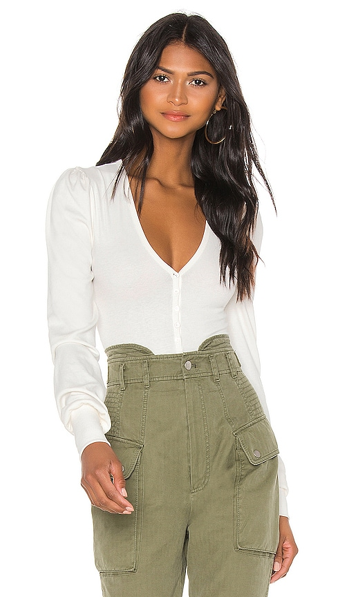 V Neck Ribbed Bodysuit