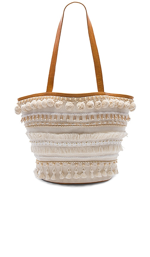 Mystique Pom Pom Tote in Cream