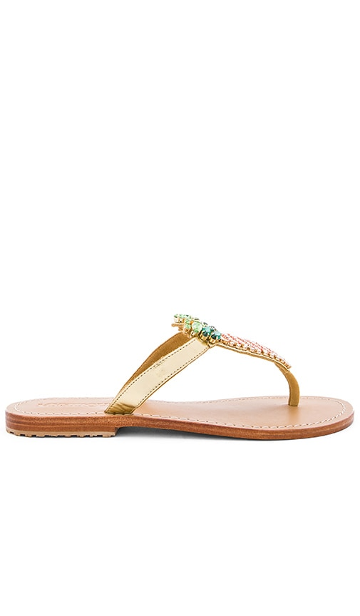 Mystique Pineapple Sandals in Metallic Gold