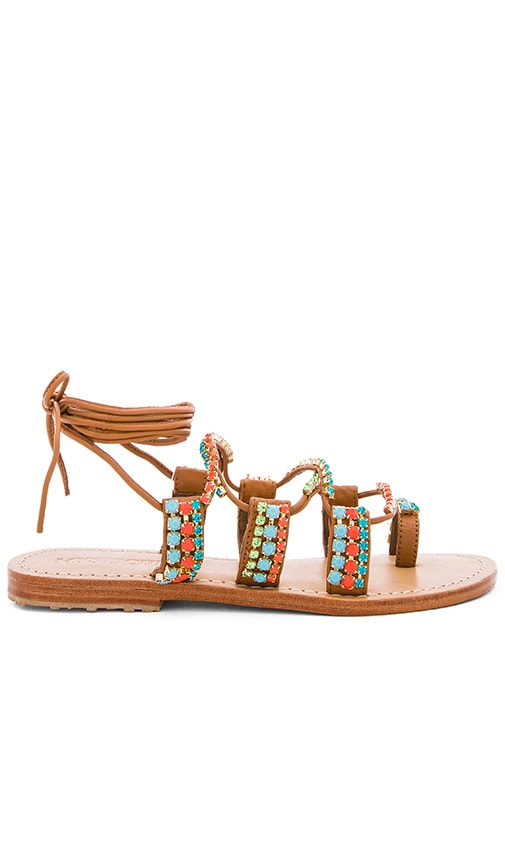 Mystique Beaded Sandals in Tan