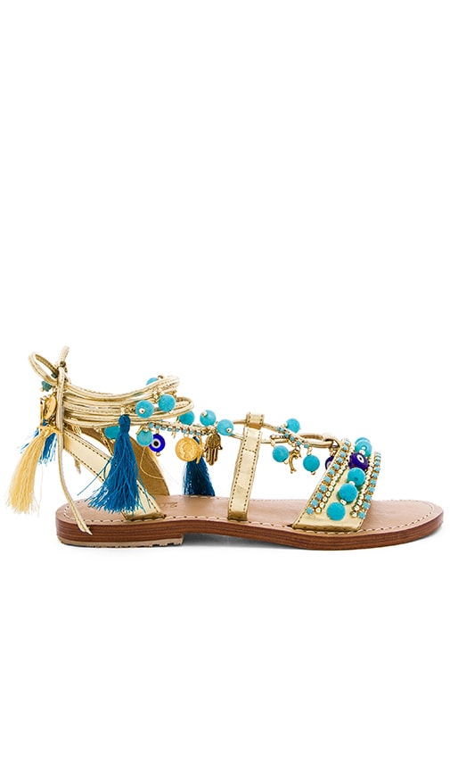 Mystique Lace Up Sandals in Metallic Gold