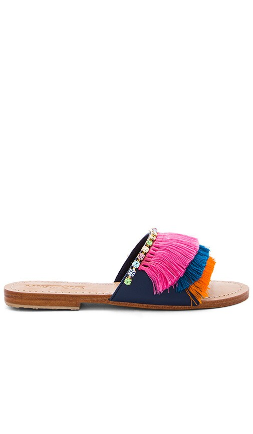 Mystique Fringe Slide Sandals in Navy