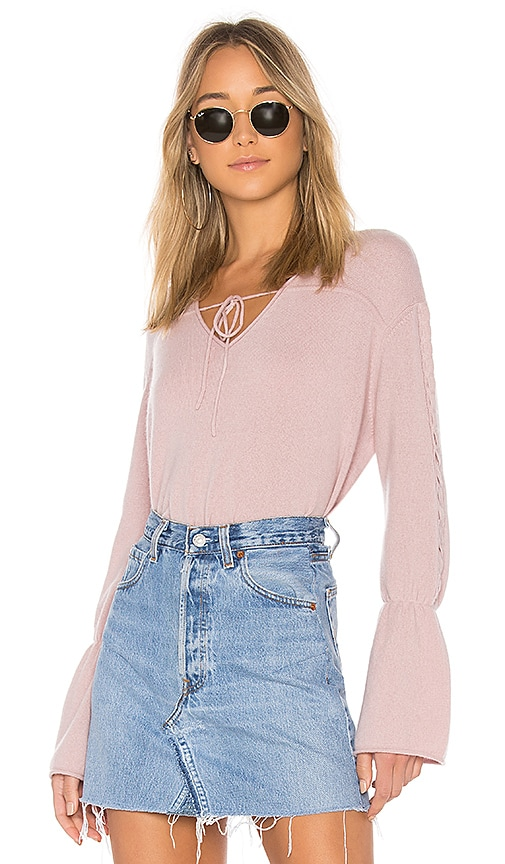 NAADAM V Neck Cropped Cashmere Sweater in Pink