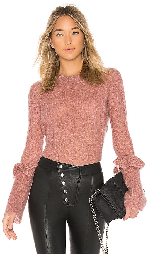 NAADAM Long Sleeve Ruffle Sweater in Pink