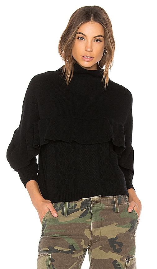 NAADAM Cashmere Ruffle Mock Neck Sweater in Black