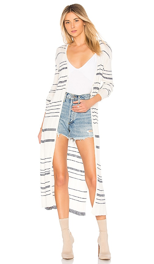 NAADAM Striped Long Cardigan in Ivory