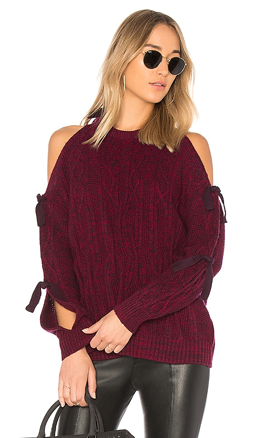 NAADAM Cold Shoulder Cashmere Sweater in Wine