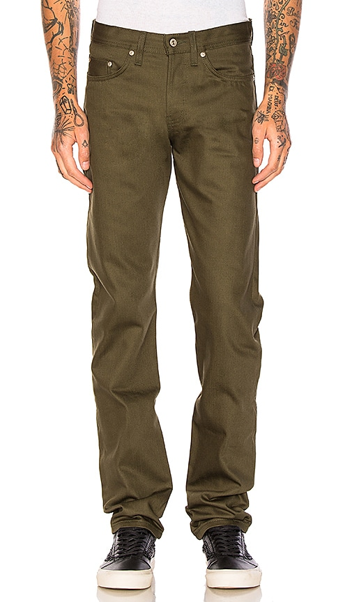 Naked & Famous Denim Weird Guy Selvedge Chino 12oz. in Green