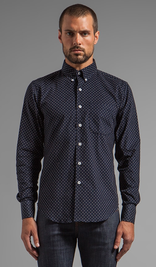 Regular Shirt Indigo Cord w/ White Dots
