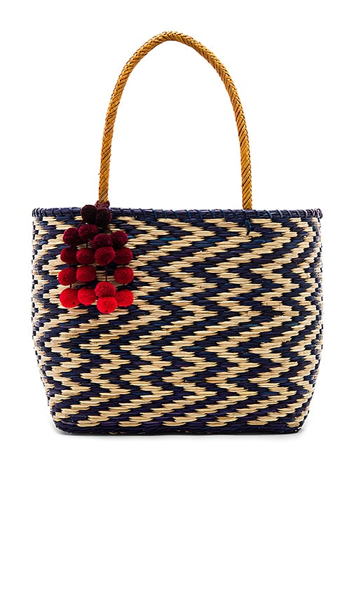 Nannacay Blue Madagascar Cascade Red Pompom Tote in Royal
