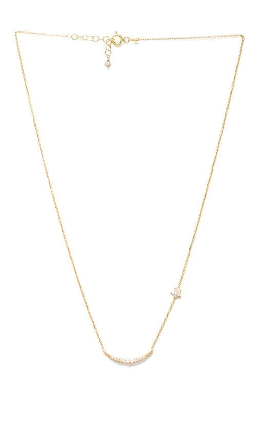 Natalie B Ottoman Moon and Star Necklace in Metallic Gold