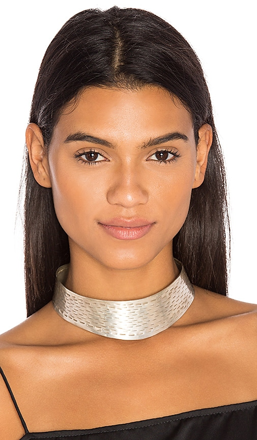 Natalie B Jewelry The Yev Collar in Metallic Silver PxwrXyke