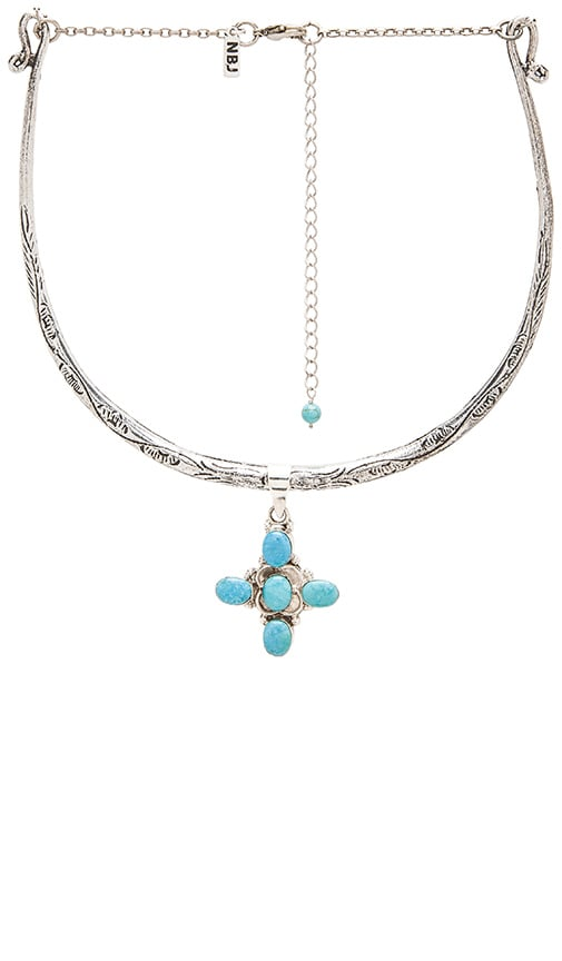 Natalie B Jewelry Lima Collar Necklace in Silver & Turq