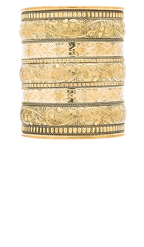 Natalie B Jewelry Azteca Bracelet in Metallic Gold