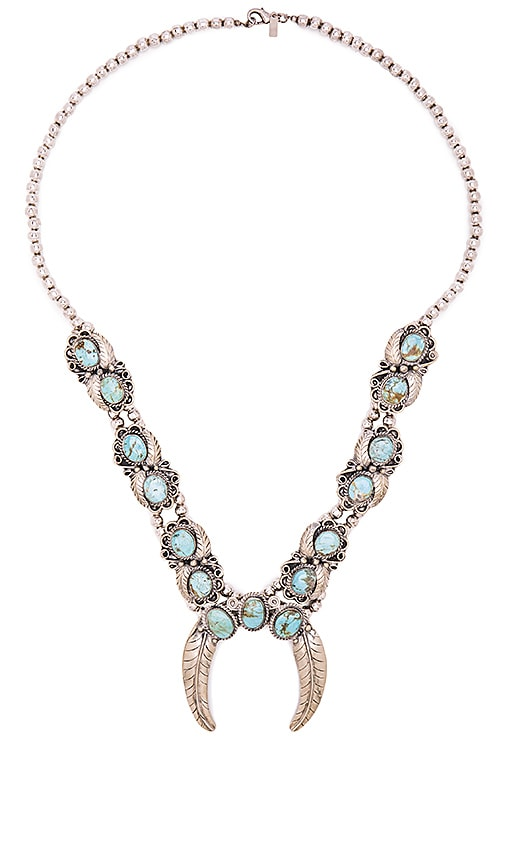 Natalie B Jewelry Naja Squash Blossom Necklace in Turquoise
