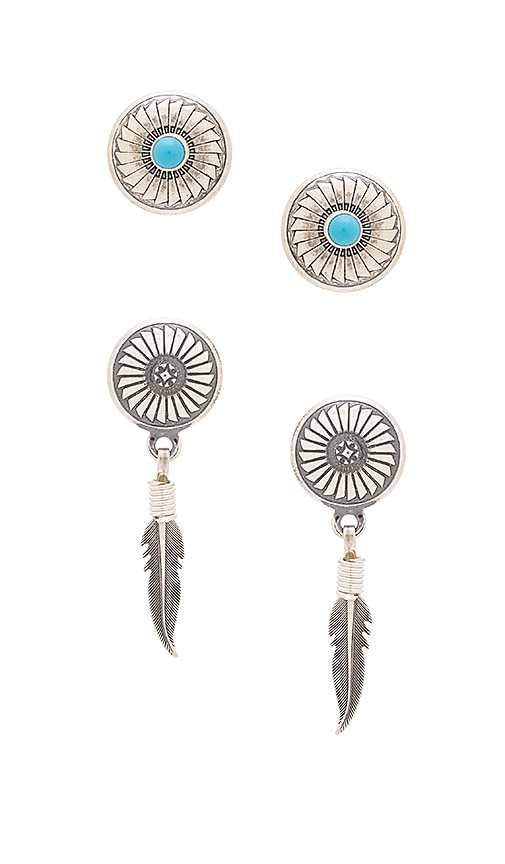 Natalie B Jewelry Mojave Stud Pack in Silver & Silver Turquoise